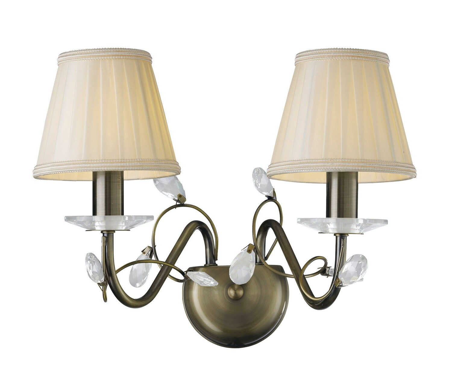 Willow Wall Lamp WITH SHADE 2 Light E14 Antique Brass/Crystal