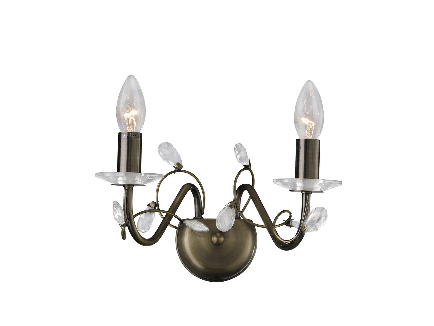 Willow Wall Lamp WITHOUT SHADE 2 Light E14 Antique Brass/Crystal