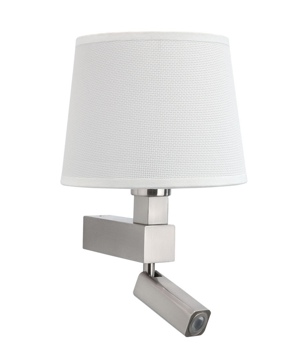 Bahia Wall Lamp 1 Light With white round Shade E27 + Reading Light 3W LED Satin Nickel  4000K, 200lm