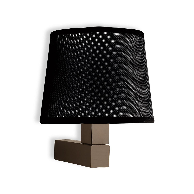 Bahia Wall Lamp with round black Fabric shade 1 Light E27 Bronze