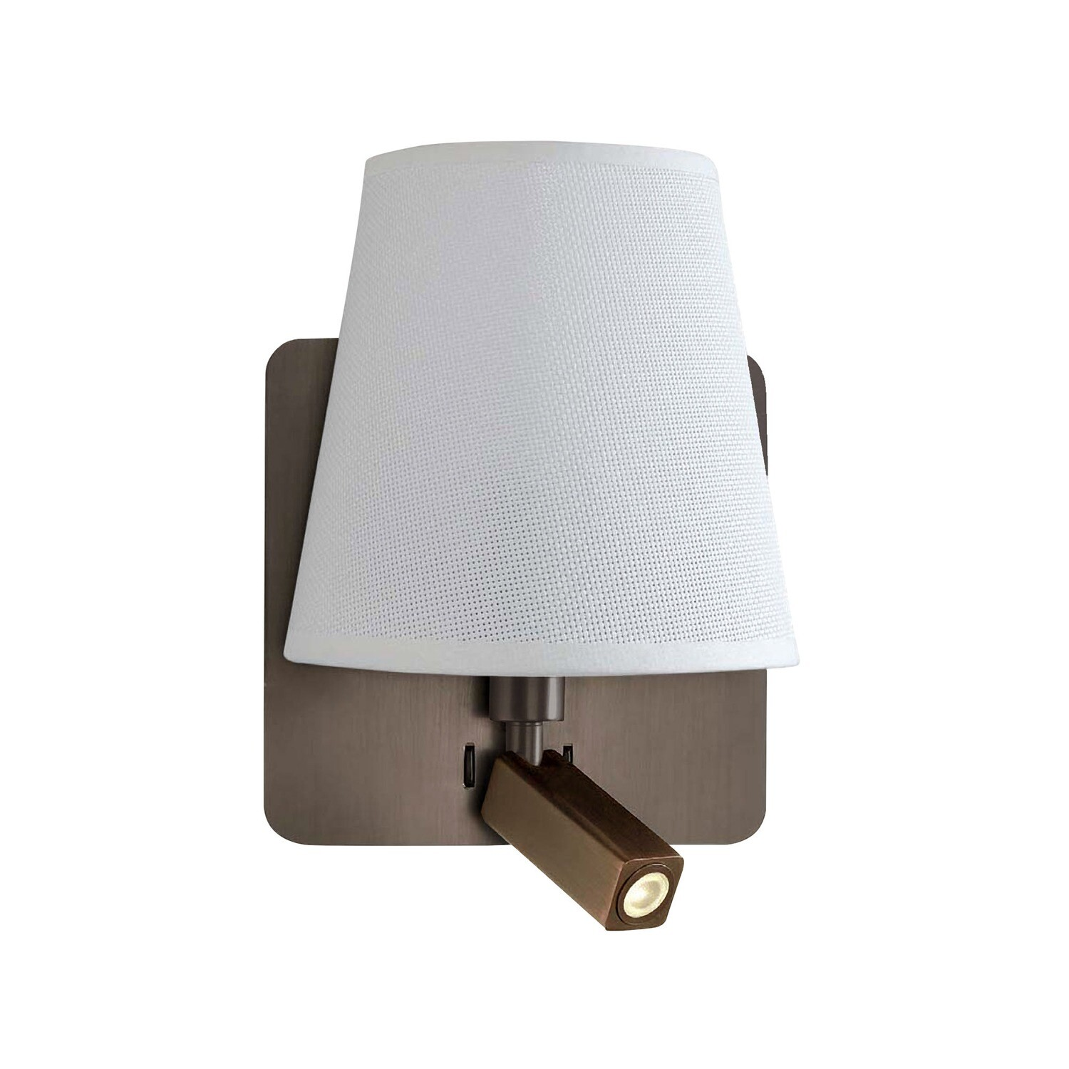 Bahia Wall Lamp With Large Back Plate 1 Light E27 + Reading Light 3W LED With White Shade Bronze 4000K, 200lm