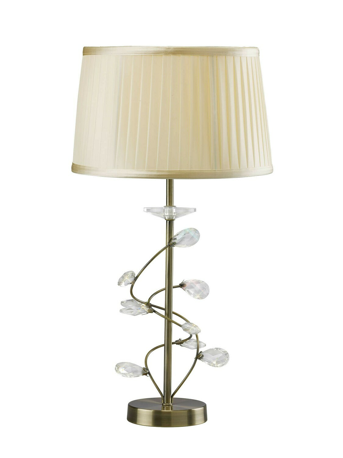 Willow Table Lamp With Cream Shade 1 Light E27 Antique Brass/Crystal