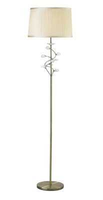 Willow Floor Lamp With Cream Shade 1 Light E27 Antique Brass/Crystal