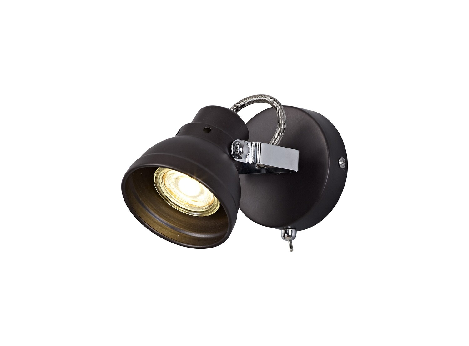 Mirko Adjustable Spotlight, 1 x GU10 (Max 10W LED), Oiled Bronze/Polished Chrome
