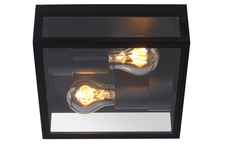 DUKAN Flush ceiling light Outdoor 2xE27  IP65 Black