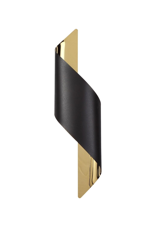 Yugen Wall Lamp Large, 1 x 8W LED, 3000K, 640lm, Sand Black/Gold