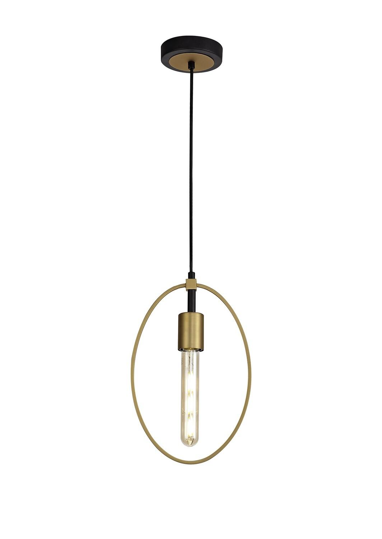 Logy Single Small Circle Pendant, 1 Light E27, Sand Gold/Matt Black