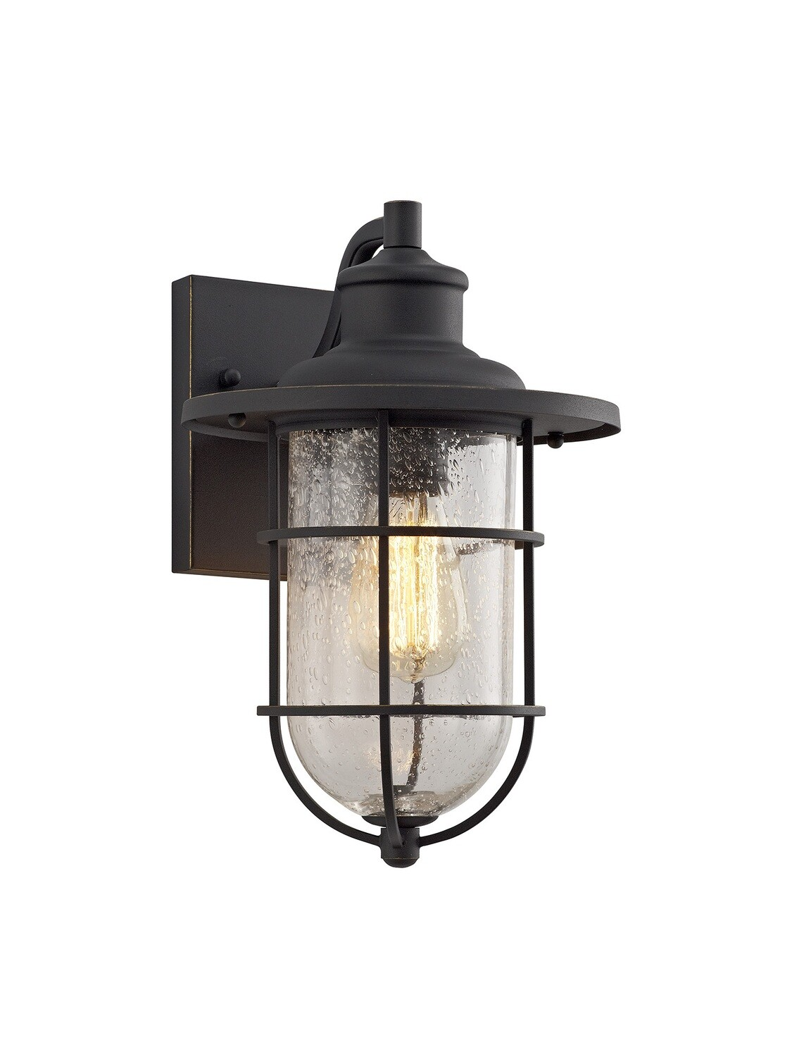 Gara Wall lamp, 1 x E27, Black/Gold With Seeded Clear Glass, IP54