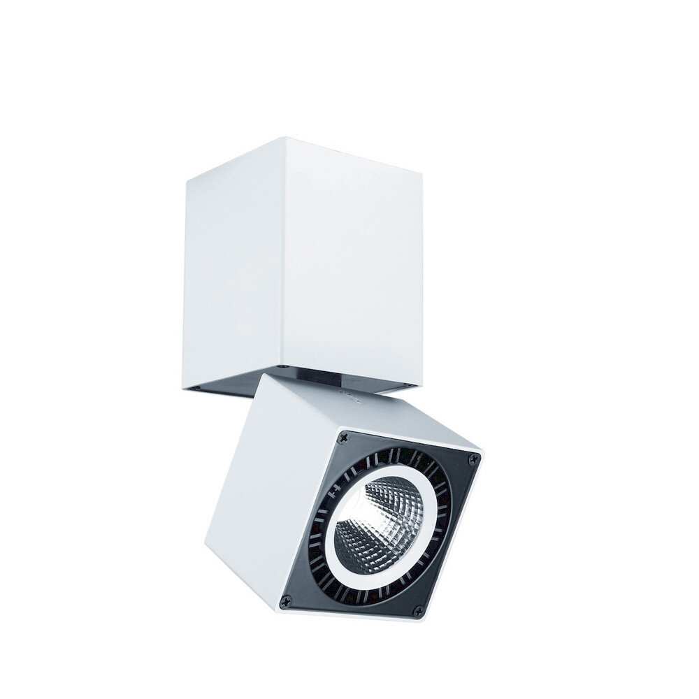 Columbretes surface mounted orientable Spotlight 8.5cm Square 12W LED 1040lm, Matt White
