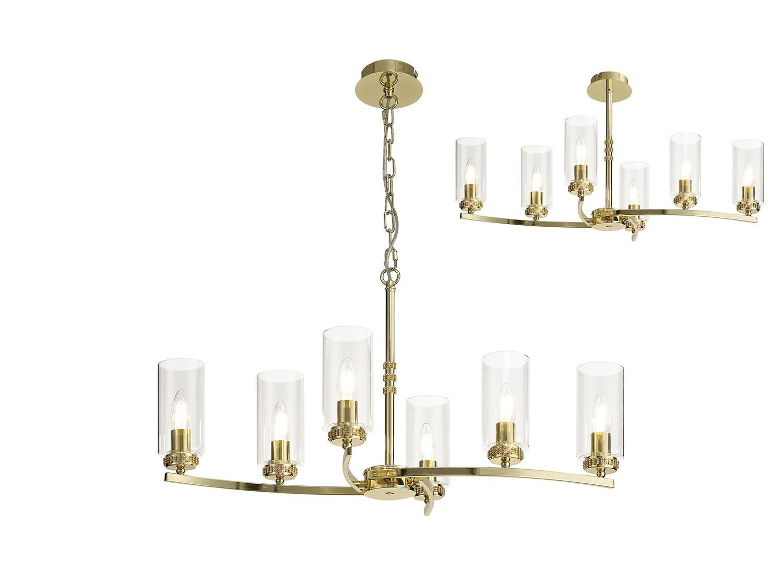Langara Rectangular Pendant/Semi Ceiling 6xE14 Polished Gold