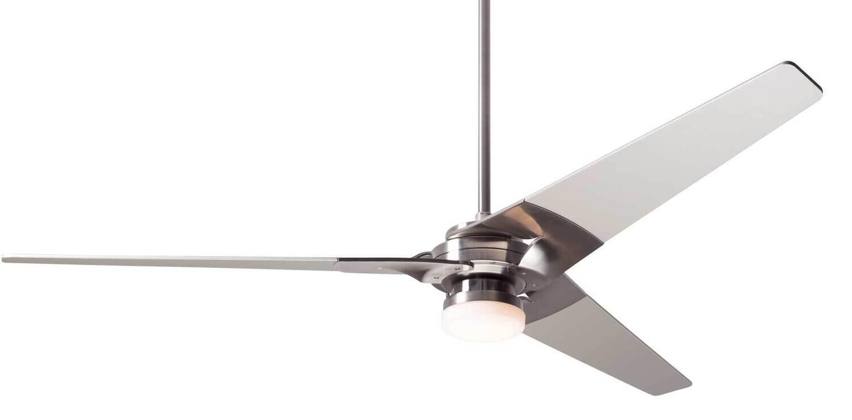 TORSION Ø132 or 157 Design ceiling fan bright nickel/nickel with light