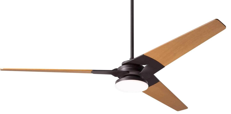TORSION Ø132 or 157 Design ceiling fan dark bronze/maple with light