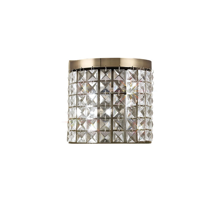 Cortina Wall Lamp Antique Brass/Crystal 2 Light G9