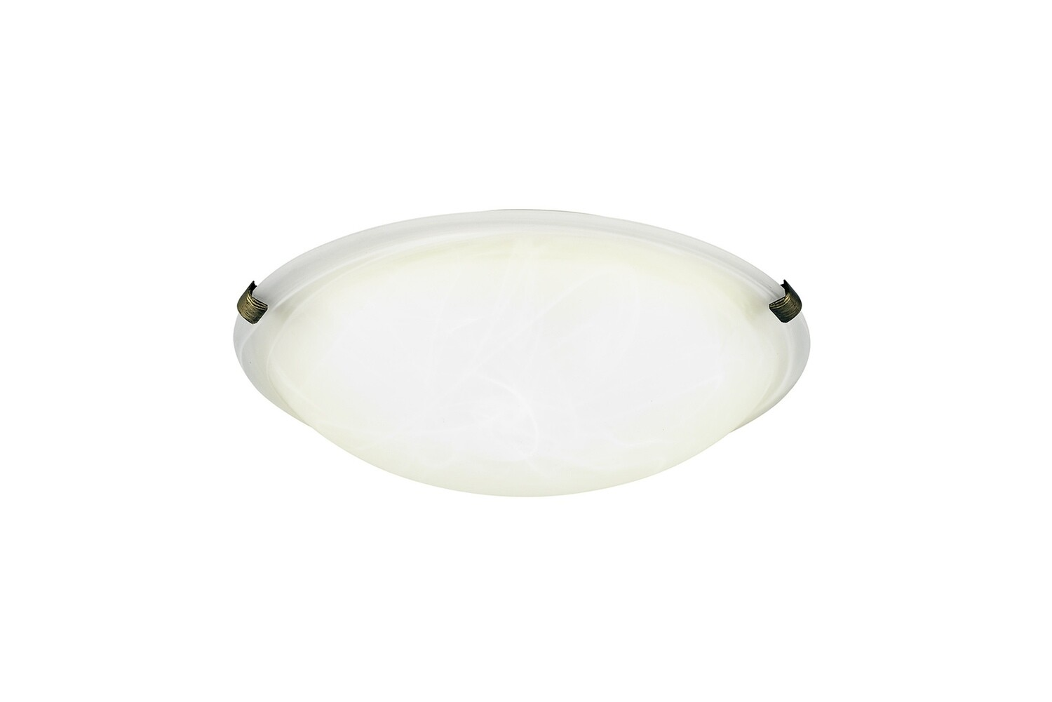 Chester 2 Light E27 Flush Ceiling 300mm Round, Black/Gold With Frosted Alabaster Glass
