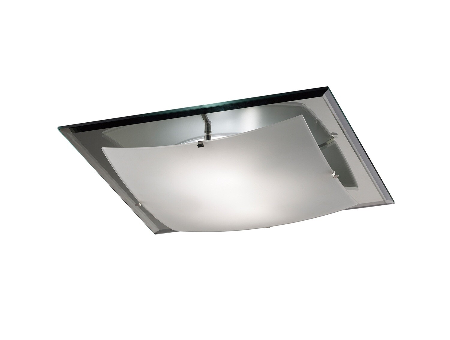 Brooklyn Ceiling, 420mm Square, 3 Light E27 Frosted/Smoked Mirror