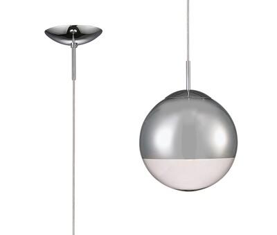 Miranda Small Ball Pendant 1 Light E27 Polished Chrome Suspension With Mirrored/Clear Glass Globe