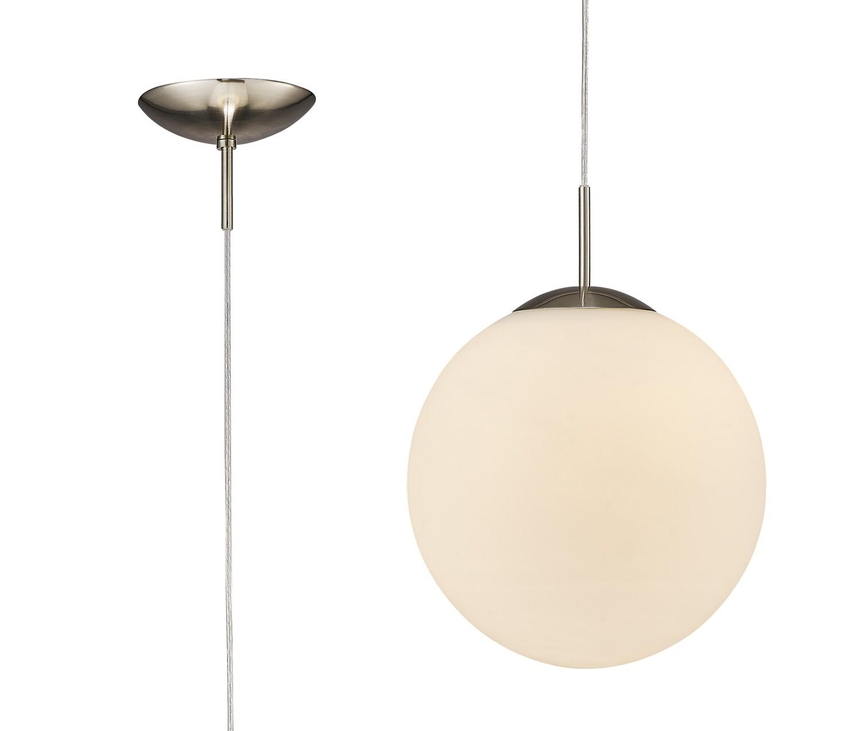 Miranda Medium Ball Pendant 1 Light E27 Satin Nickel Suspension With Frosted White Glass Globe