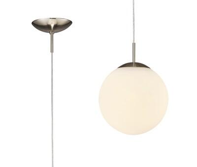Miranda Small Ball Pendant 1 Light E27 Satin Nickel Suspension With Frosted White Glass Globe