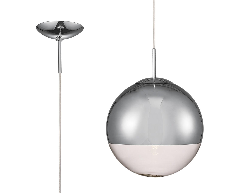 Miranda Medium Ball Pendant 1 Light E27 Polished Chrome Suspension With Mirrored/Clear Glass Globe
