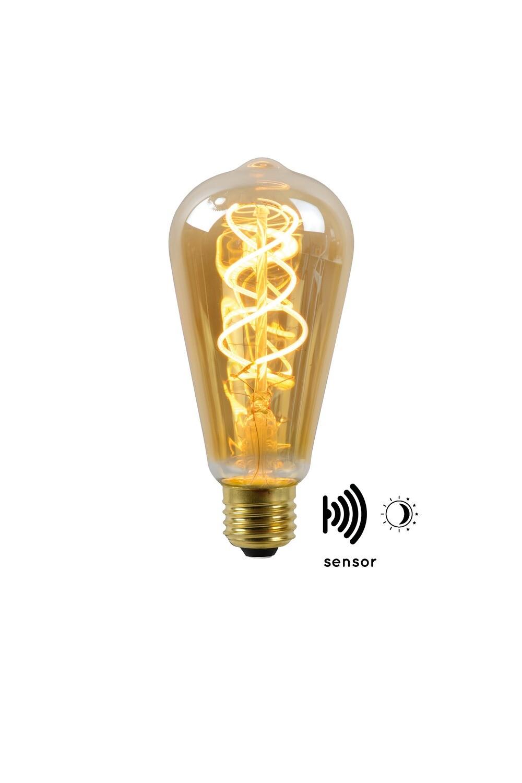 E27-LED filament-ST64 WITH TWILIGHT SENSOR  4 Watt 2200K (extra warm white) 230lm Amber
