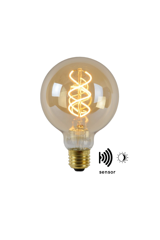 E27-LED filament-G95 WITH TWILIGHT SENSOR  4 Watt 2200K (extra warm white) 230lm Amber