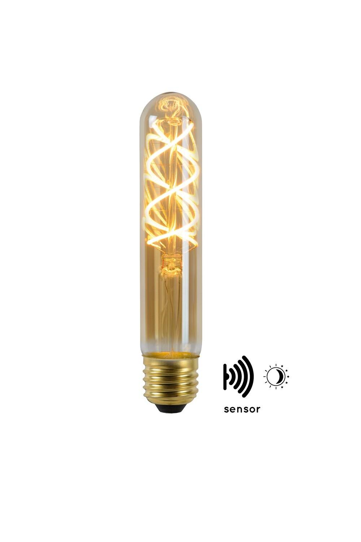 E27-LED filament-T32 WITH TWILIGHT SENSOR  4 Watt 2200K (extra warm white) 230lm Amber