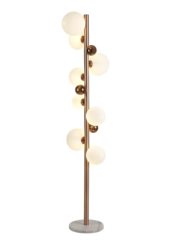 Despina Floor Lamp, 8 x G9, Antique Copper/Opal & Copper Glass