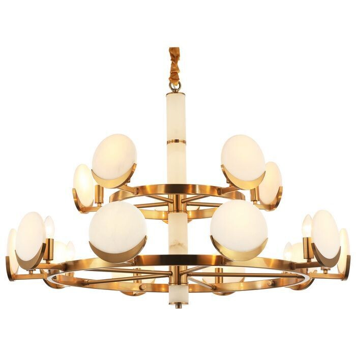 BARICELLA 15 LIGHT ANTIQUE BRASS / MARBLE CHANDELIER 15XE14