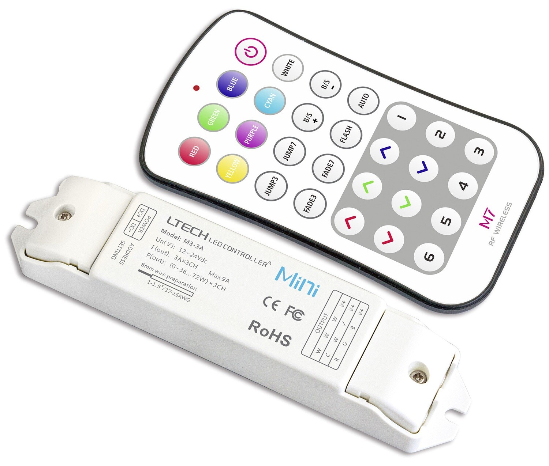 Remote Control+Receiver CV RGB Controller, 12/24 V DC, 108/216W, 9A (3A x 3CH), 40m remote range.