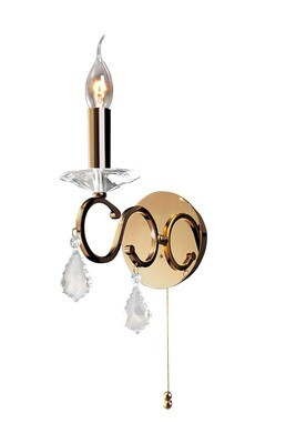 Torino Wall Lamp Switched 1 Light French Gold/Crystal