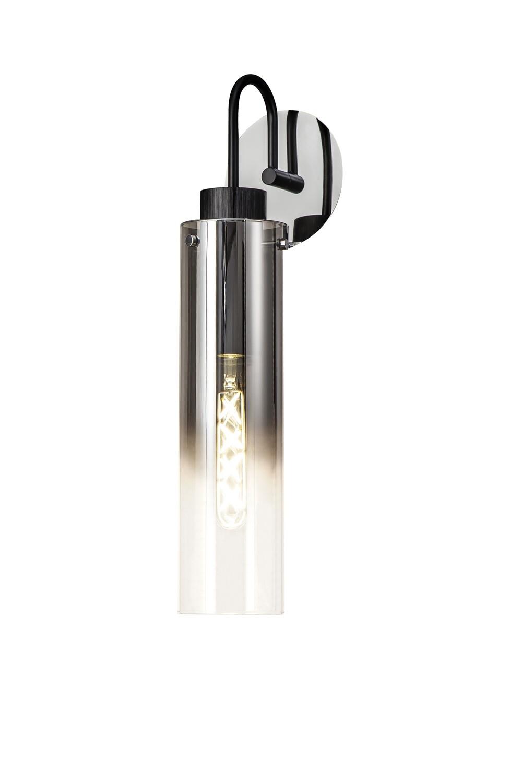 Blako Slim Single Switched Wall Lamp, 1 Light, E27, Black/Smoke Fade Glass