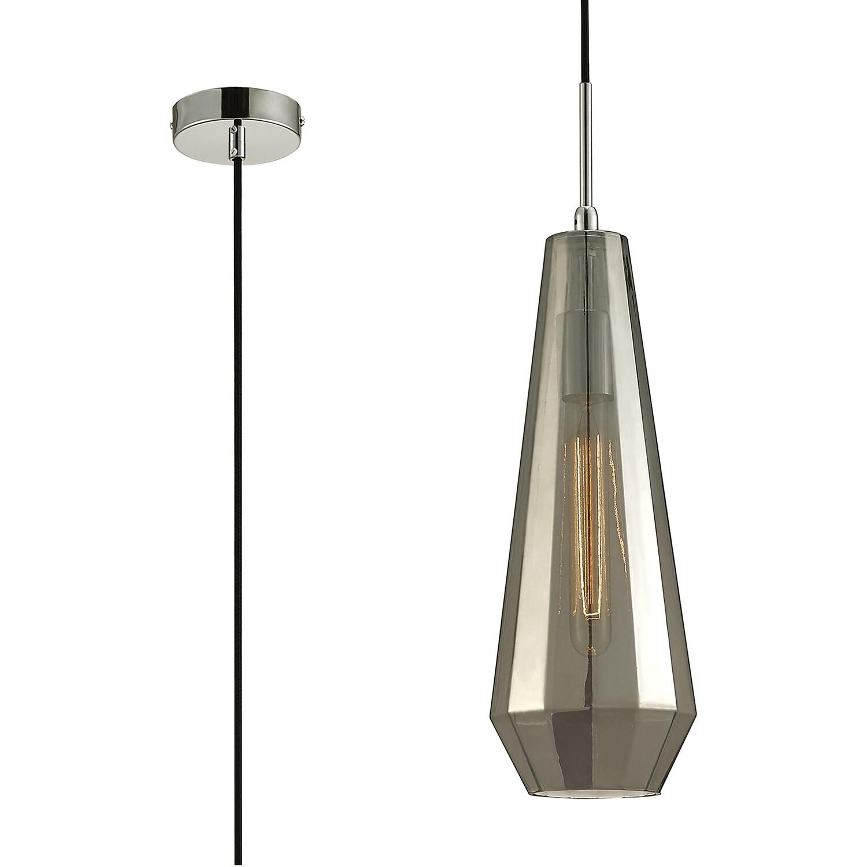 Markus Single Slim Cone Pendant 1 Light E27 Chrome/Smoke Black Glass