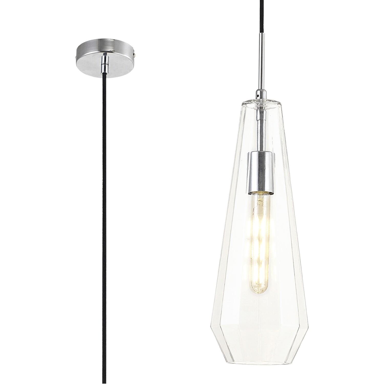 Markus Single Slim Cone Pendant 1 Light E27 Chrome/Clear Glass