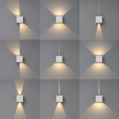 BUHO Wall Lamp cube, 10W LED, 3000K, 1100lm, IP65, Sand White