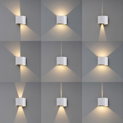 BUHO Wall Lamp cylinder, 12W LED, 3000K, 1100lm, IP54, Sand White