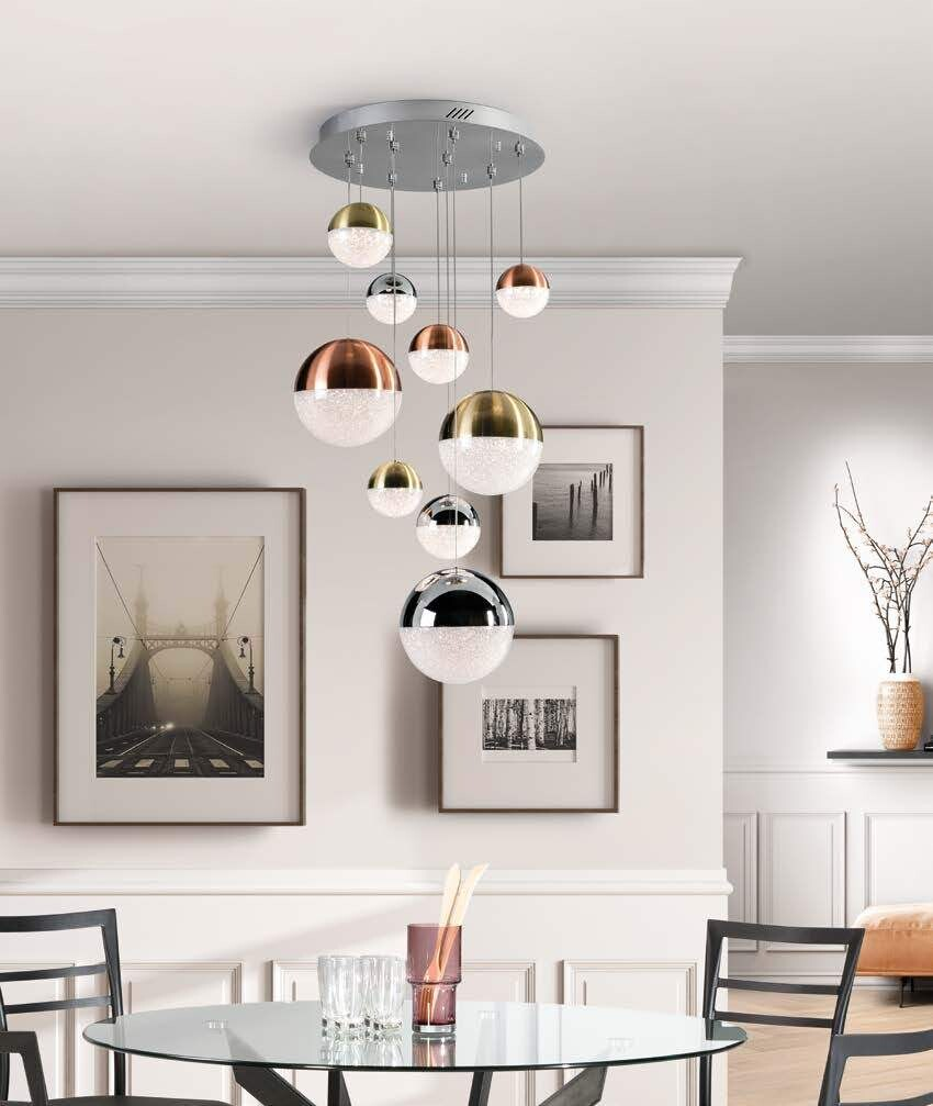 SPHERE 9 Gold Chrome Copper Spheres LED Cascade Pendant Bluetooth dimmable