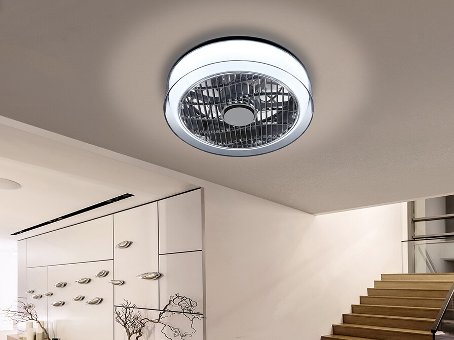 WIND 24W LED Dimmable 1920lm Ceiling Light With Built-In DC Fan, c/w Remote Control and APP Control Smoke/Chrome Opal