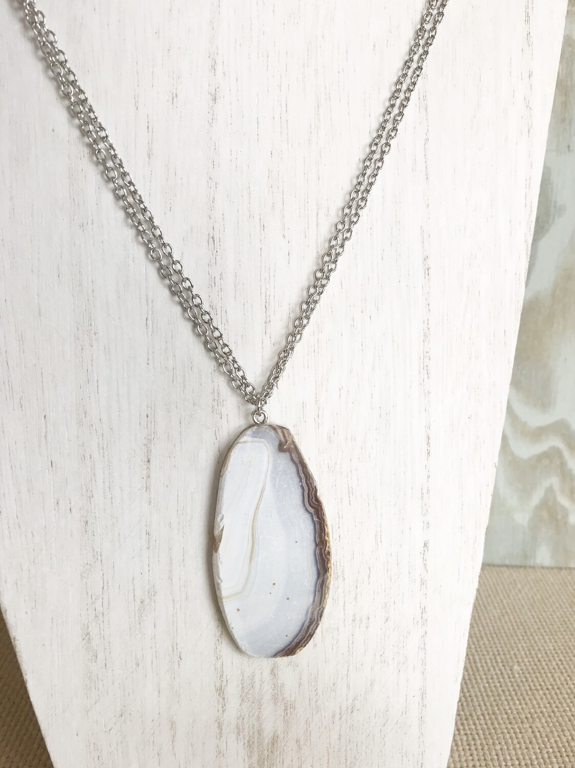 White and Brown Agate - long style