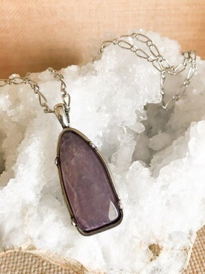 Purple Pendant with Silver - long style