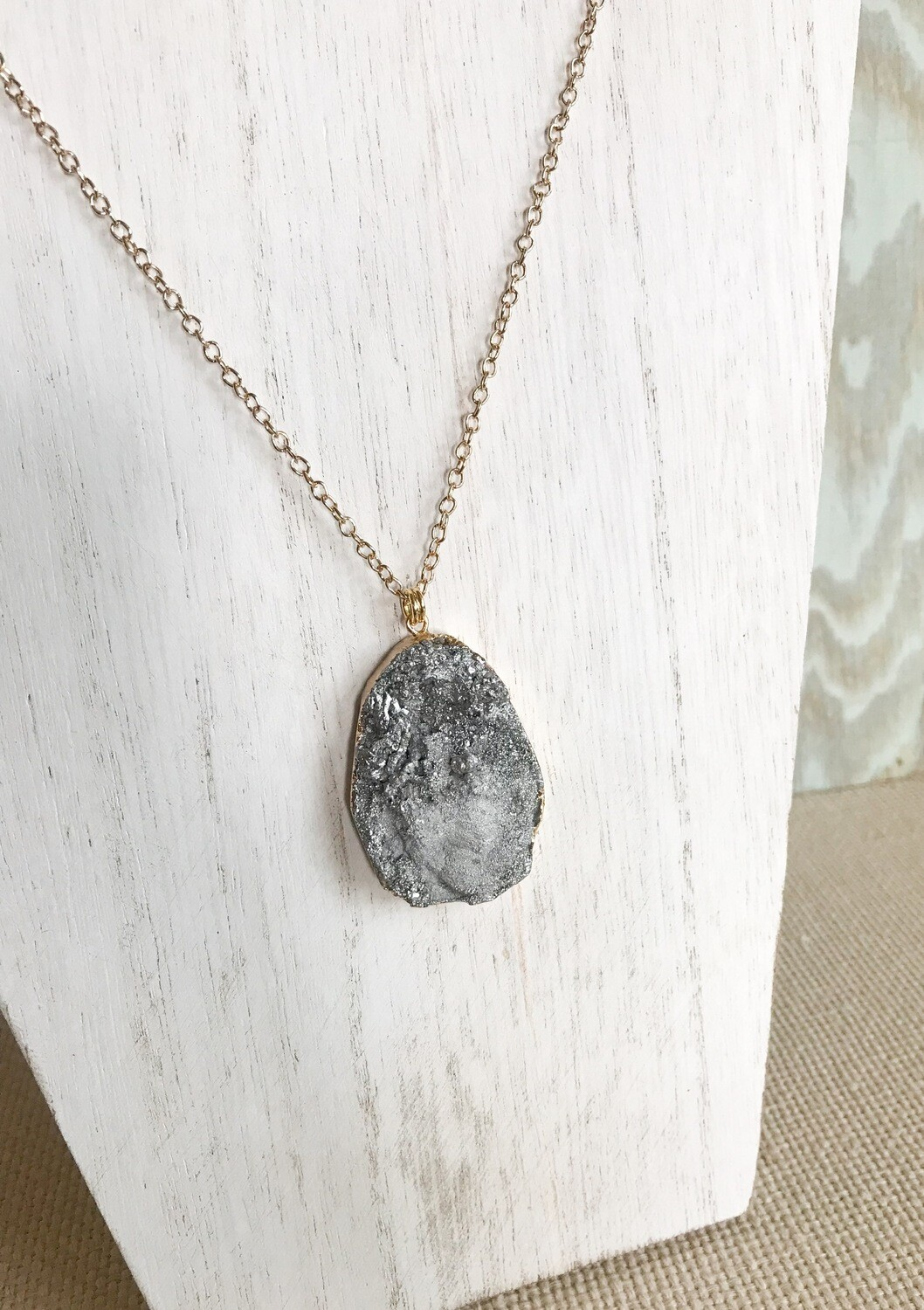 Silver Druzy with Gold - long style