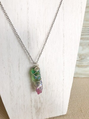 Green & Pink Wire Wrapped Crystal - long