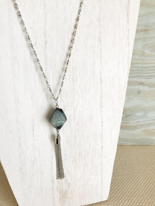 Blue & Black Bead with Tassel - short style