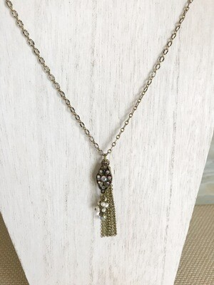 Antique Gold Sparkle, Pearl & Tassel - long style