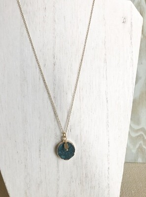 Blue Druzy with Gold Bead