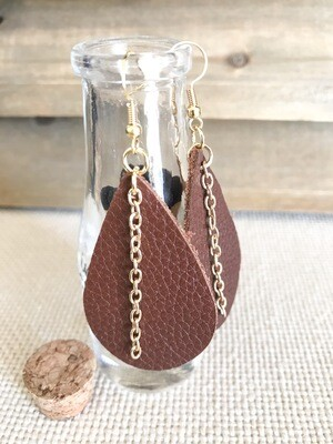 Brown Leather & Gold Chain