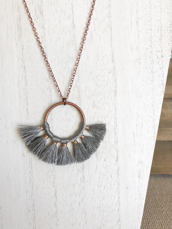 Gray Tassel Fan with Copper - short