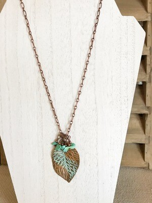 Copper Leaf with Turquoise Beads - long style
