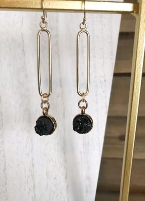 Black Druzy & Gold