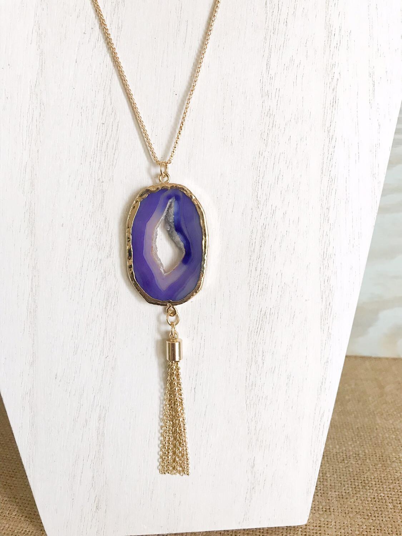 Purple Druzy & Tassel - Long