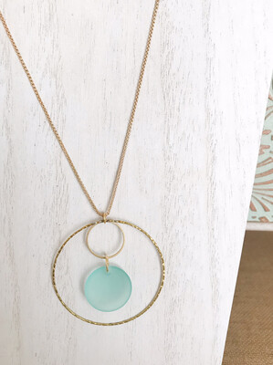 Aqua Sea Glass Brass Circles